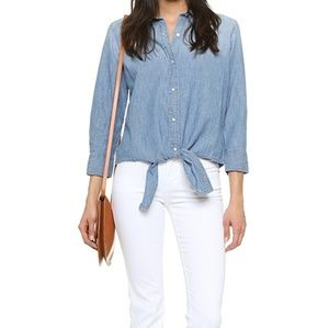 Current/Elliott The Western Tie Front Top Chambray